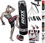 RDX Punch Bag for Boxing Training | Filled Heavy Bag Set with Punching Gloves, Chain, Wall Bracket | Great for Grappling, MMA, Kickboxing, Muay Thai, Karate, BJJ & Taekwondo | 14 pcs Comes in 4FT/5FT