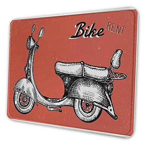 Vintage niedlichen Mauspad Retro Roller Zeichen für Fahrrad Fahrrad mieten klassische Grunge Illustration Kunstwerk Mauspad für Kinder rot schwarz weiß
