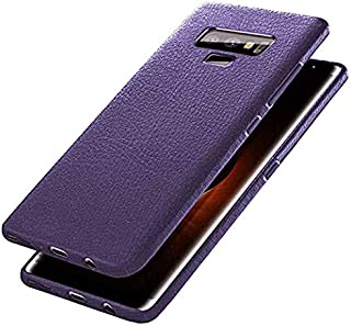 Starred Silicone Case Compatible with Samsung Galaxy Note 9, Ultra Slim Soft Protective Cover, Leather Patterned Shockproof Case Cover Hybrid Design (Blue)