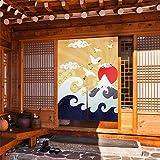 CoolChange Tenda per porta giapponese, 80 x 130 cm, con asta di serraggio, noren porta in tessuto, motivo: Ukiyo-e