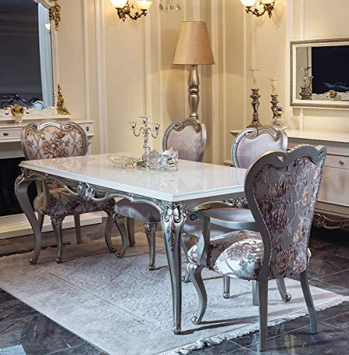 Casa Padrino Conjunto de Comedor Barroco de Lujo Rosa/Blanco/Plata - 1 Mesa de Comedor y 6 Sillas de Comedor - Muebles de Comedor en Estilo Barroco - Muebles barrocos Nobles