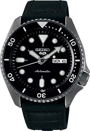 Seiko 5 Specialist Herren-Uhr analog Automatik mit Leder-Silikonarmband SRPD65K3