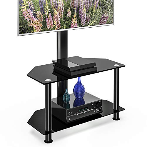 FITUEYES 3-Tiers Floor TV Stand with Swivel Mount and Height Adjustable Bracket for 32 to 65 inch Plasma Flat or Curved Screen TVs Black TV Stand Base TW310002MB