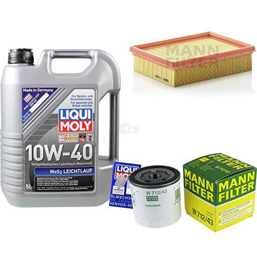 Juego de filtros de 5 litros de aceite de motor Liqui Moly MoS2, 10 W-40, filtro de aire y filtro de aceite