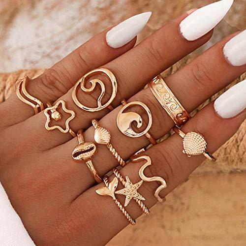 Flrora Juego de anillos de dedo Boho Ondas doradas con forma de estrella de mar, anillos de moda tallados, accesorios de joyería para mujeres y niñas (11 piezas)