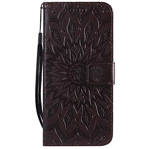 Leather Wallet Case for LG G8 ThinQ, Flip Case Leather with Kickstand,Folio Magnetic Closure Protective Cover with Card Slots for LG G8 - DEKT031600 Brown