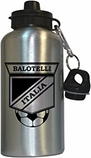 Custom Image Factory Mario Balotelli (Italy) Soccer Water Bottle Silver