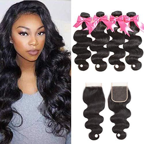 """Singlebest 4 Tissage Naturel Cheveux Humain Brésilien Human Hair Weave Extensions Hair Perruque Meches Bresiliennes Naturel bresilien en lot avec closure (12"""")"""