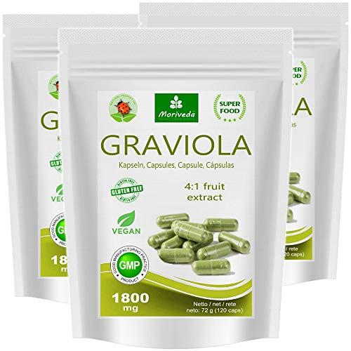 MoriVeda® - Cápsulas de graviola 360 x 1800mg extracto de fruta 4: 1 en cápsula HPMC, vegano, producto de calidad - guanábana (3x120 cápsulas)