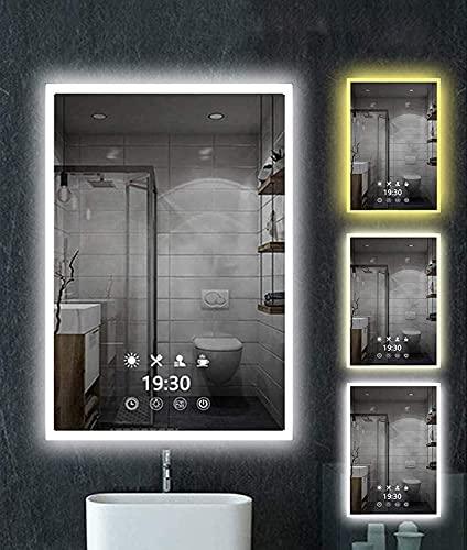 Espejo de pared LED para baño, 50 x 70 cm, con...