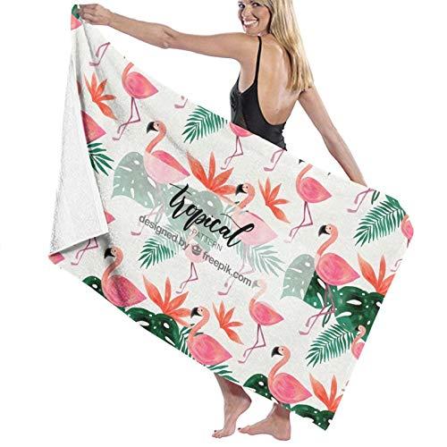 Microfibre Beach Towel Large Tropical Leaves and Aloha - 130x80cm Lightweight & Dry Microfibre Towel - Perfect as Beach Towel & Travel Towel