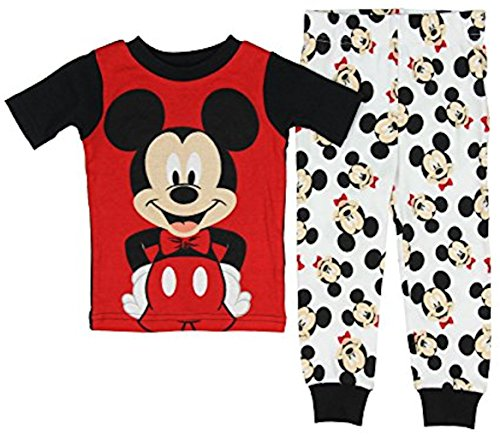 Disney Baby Boys' Mickey Mouse 2 Piece Cotton Pajama Sleepwear Tight Fit Red (12 Months)