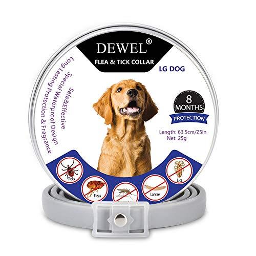 DEWEL Natürliches Hund Zecken Halsband, Zeckenband für Katzen, Reflektierendes Halsband gegen Zecken & Flöhe, Flohhalsband gegen Zecken, Milben