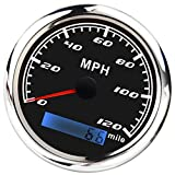 KESOTO 120MPH 85mm Digital GPS Speedometer Gauge Waterproof for Boat Marine - Black