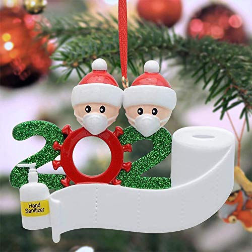 Christmas 2020 Hanging Ornaments, Covid-themed Personalized Christmas Ornaments with Face Mask, Hand...