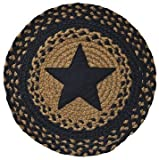 Appliqud Star Braided Round Table Mat Black Tan Country Primitive Dcor