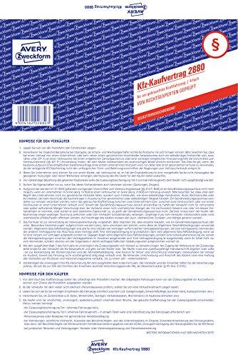 AVERY Zweckform 2880 Aankoopovereenkomst (voor een gebruikte auto, A4, zelfdoorschrijvend) 5 stuks blauw