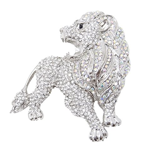 EVER FAITH Austrian Crystal Party Roaring King Lion Animal Brooch Clear Silver-Tone