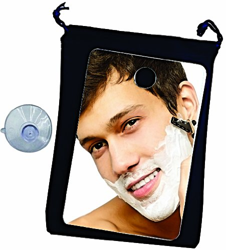 Fog Free Travel Shower Mirror ~ Fogless Shaving On The Go ~ Anti Fog ~ Great No Fog Mirror for Home or Gym Too  Non Fog Mirror Includes Velvet Drawstring Bag amp Large Quality Suction Cup By Shave Pal