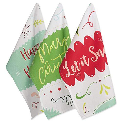 DII 100% Cotton Decorative Dishtowel Set, 18x28, Holiday Sayings 3 Piece
