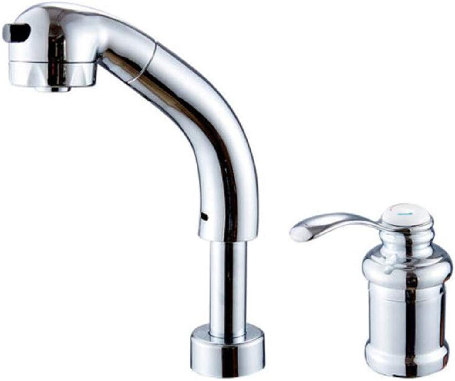 Mucert Split Double Hole Hot and Cold Faucet, Pull Basin Basin Faucet, Telescopic Basin Head Can Be Lifted.