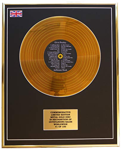 Everythingcollectible Elvis Presley - Jailhouse Rock/Metall Gold Disc Display Gedenk Limited Edition