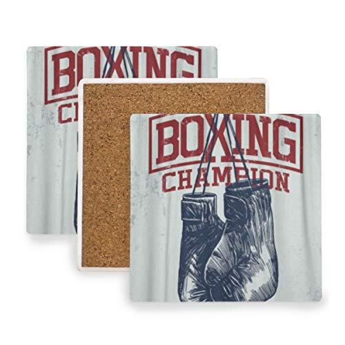 PANILUR Turnhallen Weinlese Boxhandschuh Sport Trainings Durchschlags Fitness Boxer,Untersetzer Saugfähige Keramik,für Tassen Tisch Bar Glas(2 Packs)