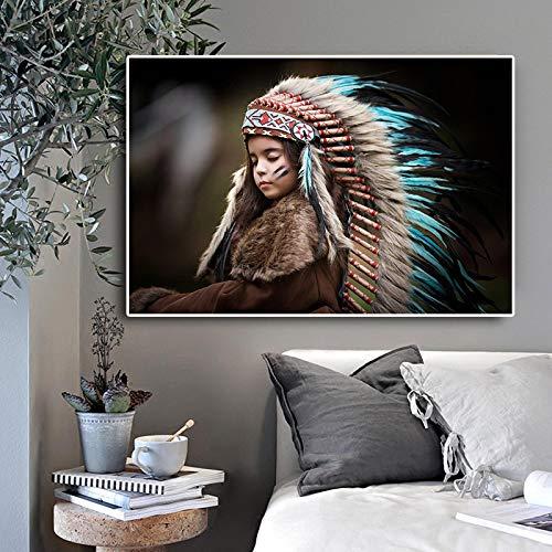 Impresión de lienzo Nativo indio pluma retrato de niños carteles de lienzo e impresiones escandinavo cuadro de arte de pared para decoración de habitación de niños-50x70cm sin marco