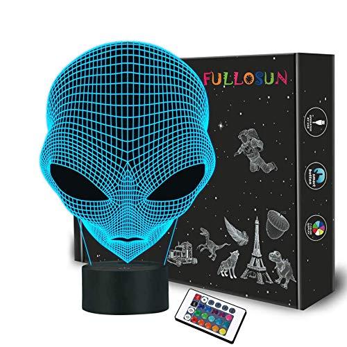 Luz de la noche del bebé en 3D Martian ET Projection Lámpara LED Alien Nursery Nightlight para niños Habitación Decoración para el hogar Regalos de cumpleaños de Navidad con cambio de 7 colores