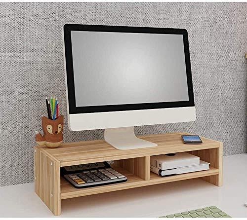 DAGCOT Ordenador portátil tabla de madera para monitor vertical con espacio de almacenamiento ajustable para ahorrar espacio en 3 niveles Organizador de escritorio para impresora de oficina Laptop Sta