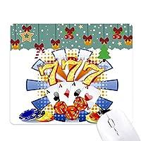 カジノのダイスポーカーチップのイラスト ゲーム用スライドゴムのマウスパッドクリスマス