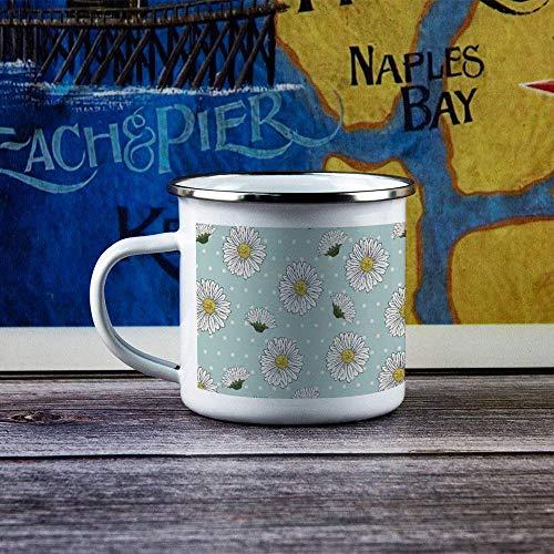 Taza esmaltada para acampar con asa, matraz para acampar, duradero, para senderismo, fogata, café, té, taza de viaje para bebidas frías y calientes para esposo, papá, abuelo, abuela, flor, planta, pat
