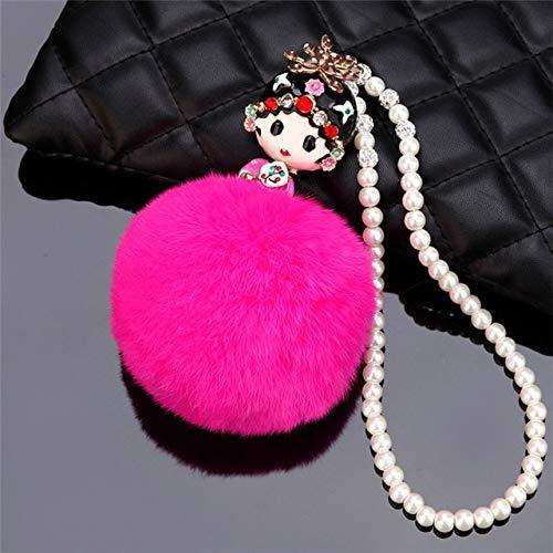 QCGJEL Auto Anhänger Peking Opera Männlich Weiblich Rolle Ball Auto Innendekoration Hängen Suspension Ornamente Zubehör Geschenke Rose Red Hua Dan