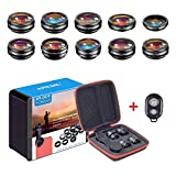 APEXEL 10 in 1 Cell Phone Camera Lens Kit Wide Angle&Macro Lens+Fisheye Lens+Telephoto