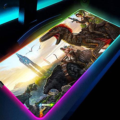 Mauspads RGB Gaming Mauspad Für Ark Survival Evolved Mauspad Pc Gamer Computer Großes Mousepad mit Hintergrundbeleuchtung XXL Led Anime Schreibtischunterlage 600x300mm