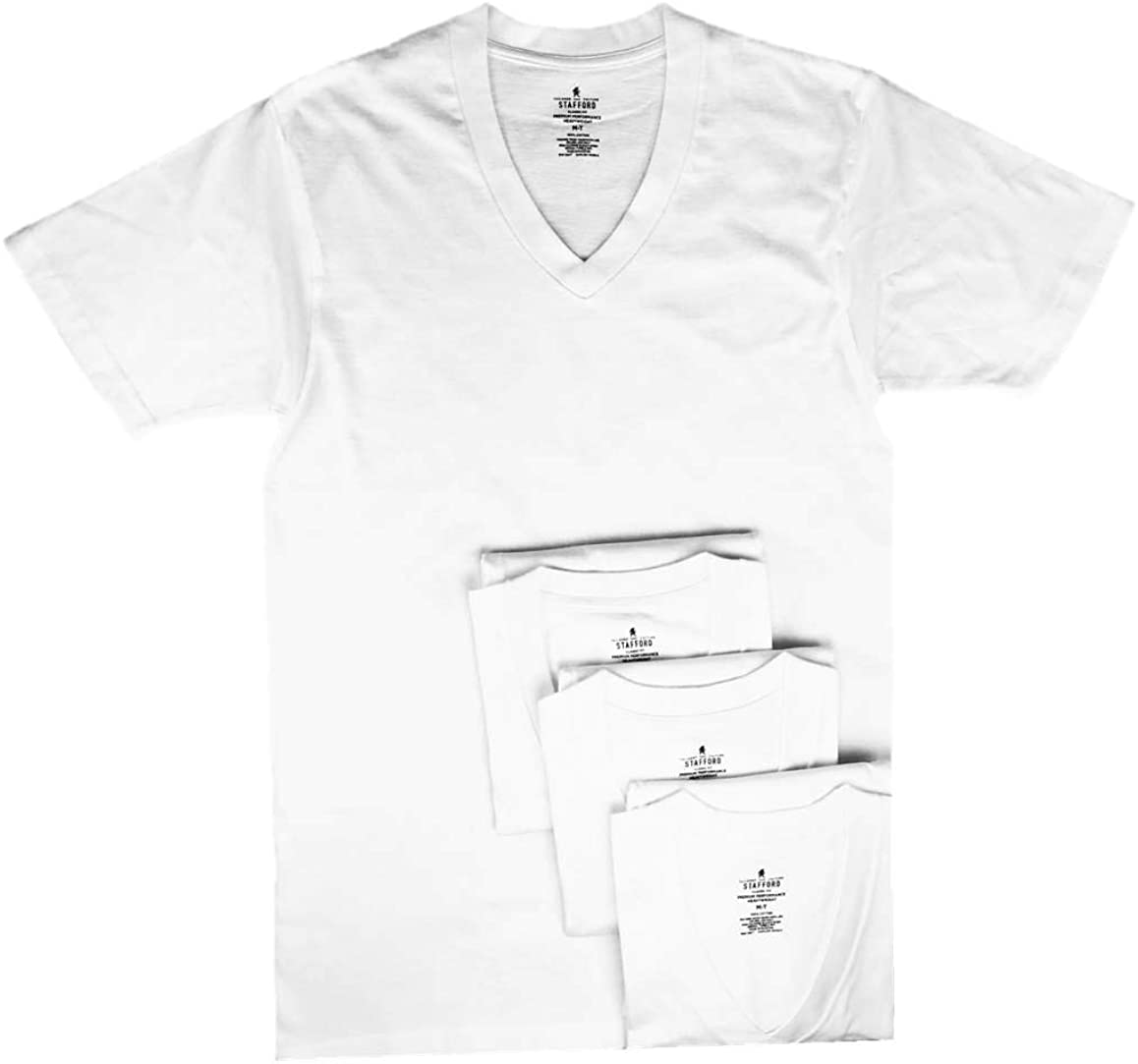 Stafford Men's Tall/Extra Tall 100% Heavy Weight Cotton V-Neck Undershirt, White, Short Sleeve, 4 Pack