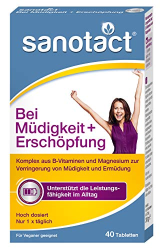 sanotact Bei Müdigkeit und Erschöpfung Tabletten - 40 Stk., unterstützt die Leistungsfähigkeit im Alltag, deckt Tagesbedarf an 4 B-Vitaminen, vegan