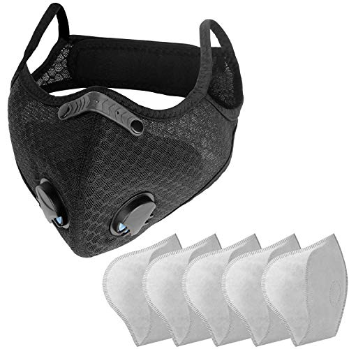 Sports Face Mask with Replaceable Filters NESENNI Mask(1 Mask with 5 Filters)