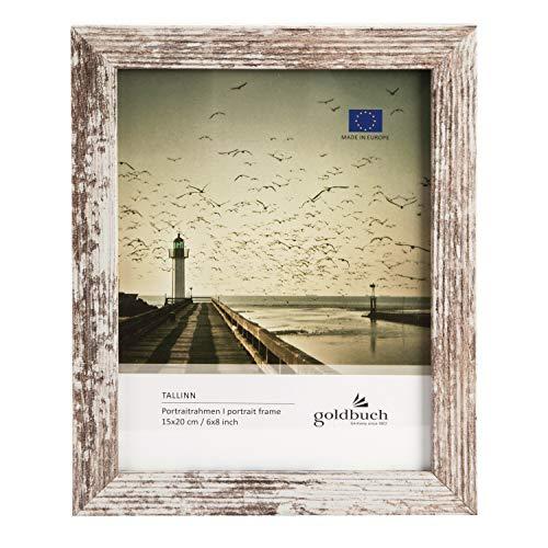 goldbuch Bilderrahmen Tallinn Vintage aus Holz, Fotorahmen für Bild im 15x20 cm Format, Portraitrahmen mit Aufsteller & Wandhalterung, Einzelrahmen aus MDF, Foto Rahmen