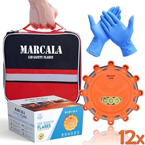 MARCALA Emergency Flares for Cars 12-Pack   Roadside Safety Discs   LED Safety Flare Emergency Lights   The only Complete Safety Disc Kit w/ 2 Bonus Items!   Feel Safer on The Road!!