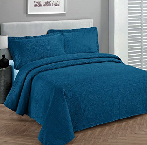 Fancy Collection Luxury Bedspread Coverlet Embossed Bed Cover Solid Blue New Over Size 118