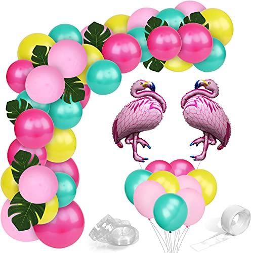 Gxhong Decoración Tropical Hawaiana, Globos Rosa Rojo Verde Amarillo, Arco de Globos Flamingo, Globos de Helio Globos de Látex para Fiesta en la Playa Decoración de Cumpleaños Niñas