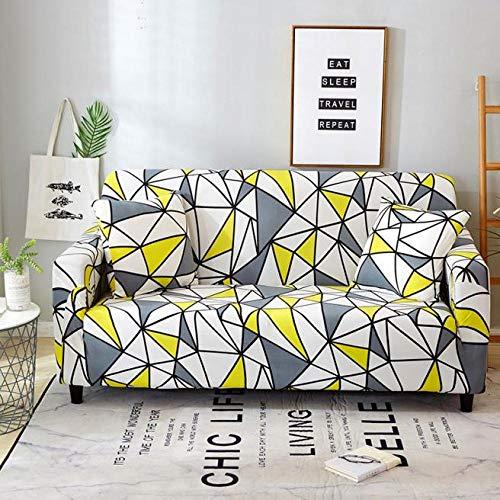 Funda Elástica de Sofá Cubre Antideslizante/Protector Ajustables de Sofá, Decorativas Fundas Geometría de Color Impresa -para Sofas, con Cuerda de Fijación (4 Plazas:225-290cm)+1 Fundas de Almohada