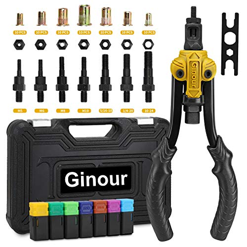 Ginour 11'Rivet Nut Tool, 70pcs Hand Rivet nut kit with 7 SAE Metric & Inch (M5 M6 M8 M10 &1/4-20, 5/16-18, 10-24) Rivet tool professional with Carbon steel, easy to deal with various fastening rive