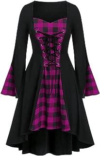 iLOOSKR Plus Size Women's Halloween Lattice Lace Up Patchwork Casual Long Sleeve Mini Dress