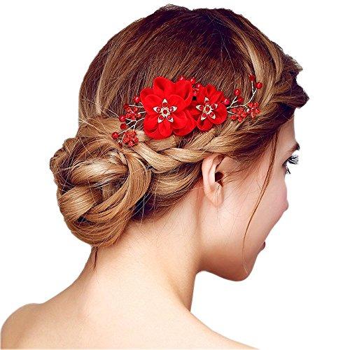 Peigne à Cheveux Rouge Décoratif de Fleurs Femme Epingle Cheveux Bijoux de Tête en Strass Cristaux Perles pour Mariage Accessoire Chevelure