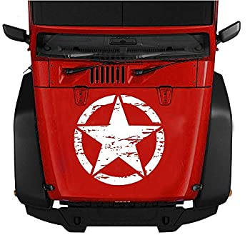 GiftCity Car Decals- 1x US Army Military Star Car Sticker Decals car Decal Vinyl Car Hood Decal for Car/Truck/Ford F150/Jeep Wrangler Universal Scratch Hidden Car Stickers  White