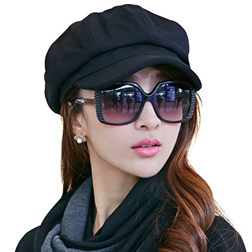 SIGGI Womens Merino Wool Visor Beret Newsboy Cabbie Cap Winter Hats with Lining Spring 67145_black,Medium