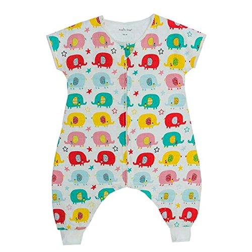 Chilsuessy Baby Sommer Schlafsack mit Beinen 0.5 Tog Kinderschlafsack 100% Baumwolle Musselin Jungen Babyschlafsack Unwattiert Mädchen Schlafstrampler, 6#, L/Koerpergroesse 80-90cm