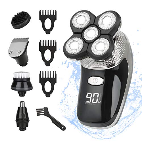 Rasoio elettrico per uomo a testa calva LED da uomo 5 in 1 rasoio elettrico IPX7 impermeabile Wet & Dry Rotary Shaver con Clippers Naso Hair Trimmer Spazzola per la pulizia del viso